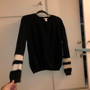 Navy Blue Sweater with White Stripes on Sleeves